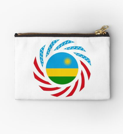 Rwandan American Multinational Patriot Flag Series Zipper Pouch
