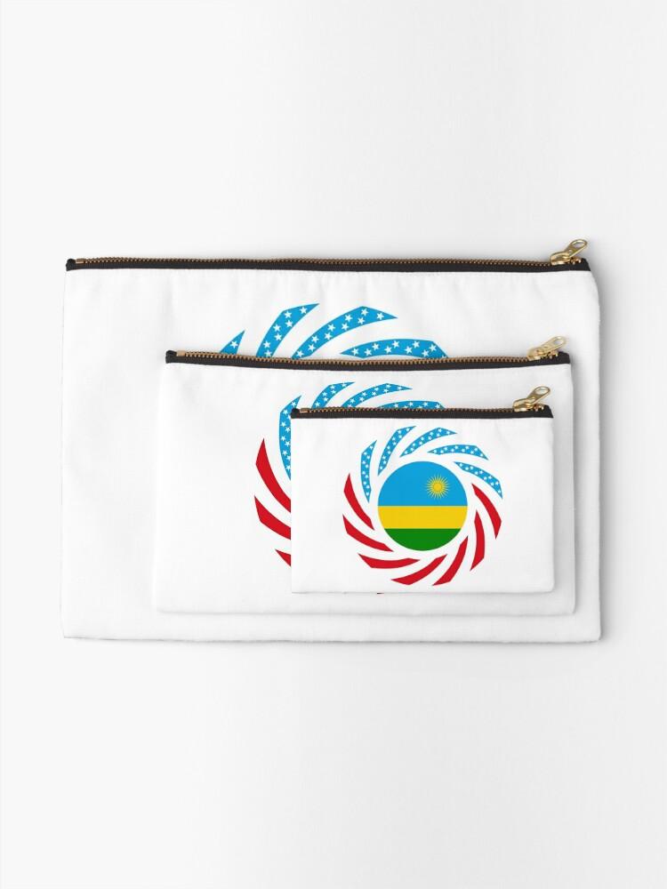 Alternate view of Rwandan American Multinational Patriot Flag Series Zipper Pouch