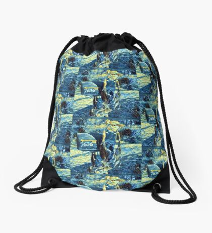 Scarecrow art in blue Drawstring Bag