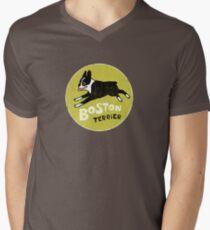 Vintage Style Boston Terrier Men's V-Neck T-Shirt
