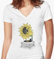 Singing in the sun Women's Fitted V-Neck T-Shirt