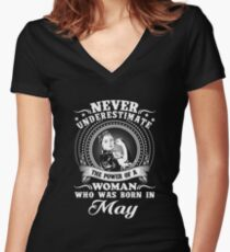 The power of a woman who was born in may T-shirt Women's Fitted V-Neck T-Shirt