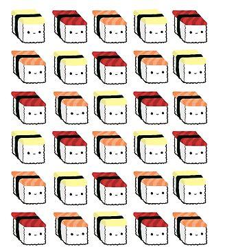 Kawaii Sushi Pattern by gwenysy123