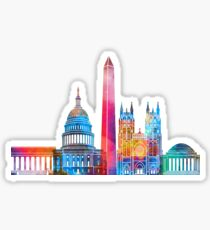 Washington DC landmarks watercolor poster Sticker