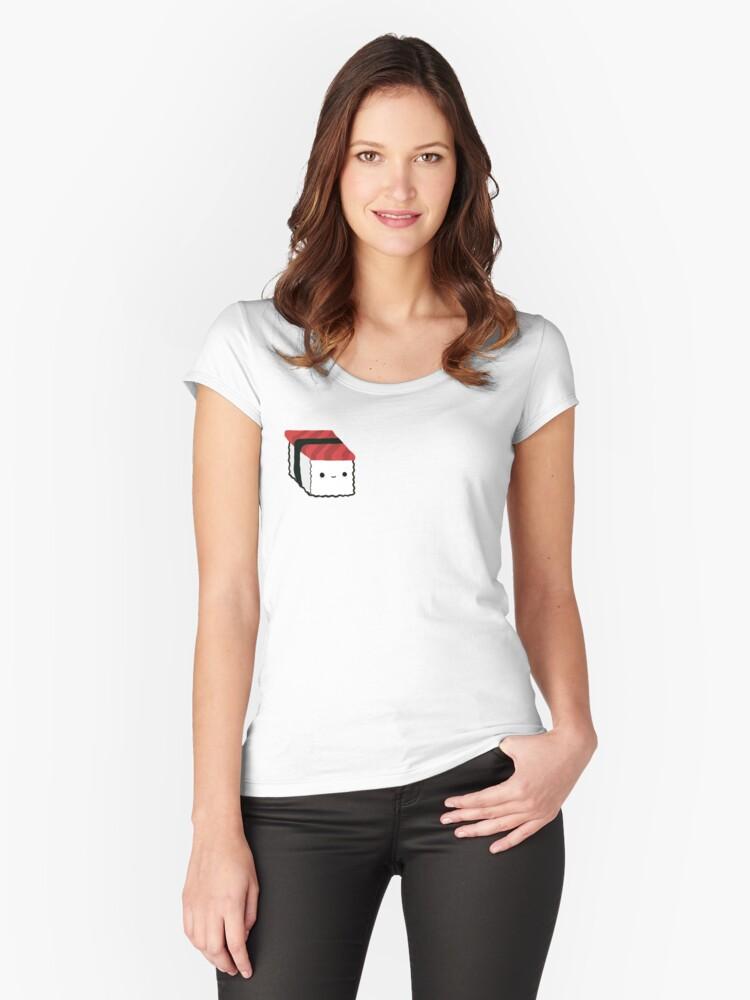 Kawaii Tuna Sushi Shirt Women's Fitted Scoop T-Shirt Front