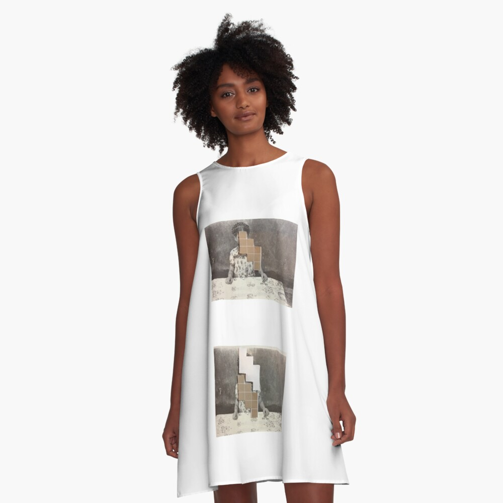 Girl. dining. Collage. art. A-Line Dress Front