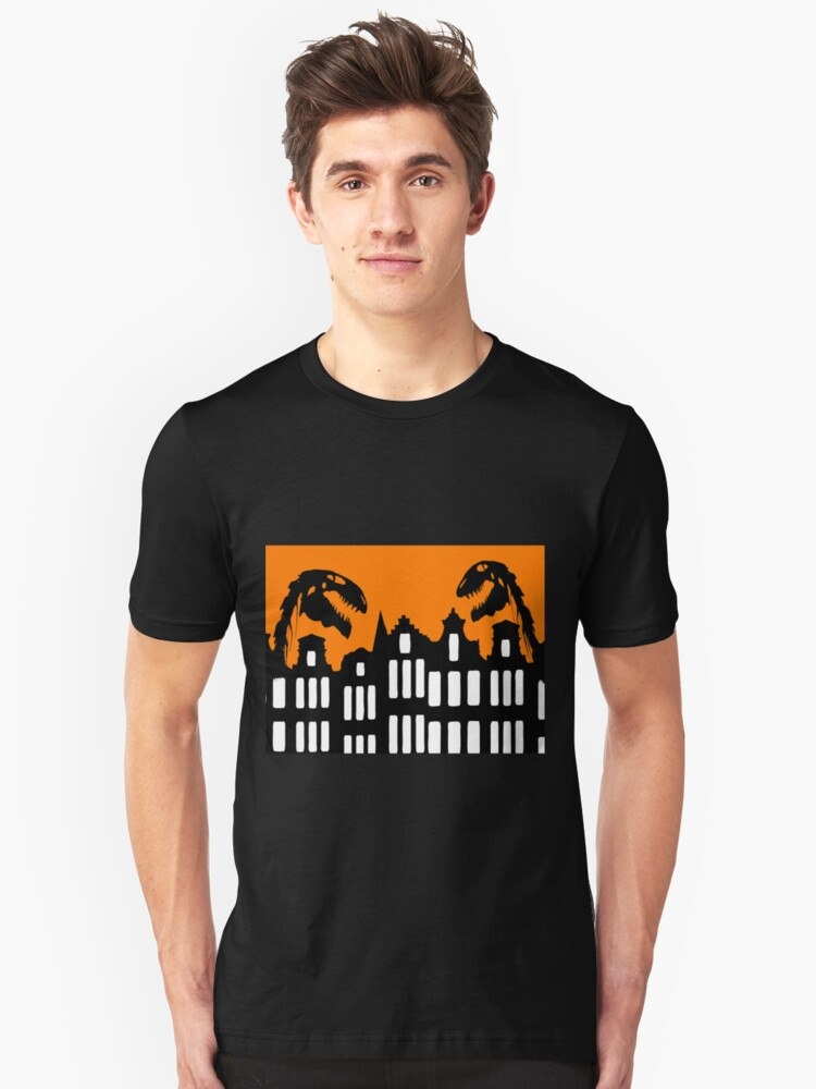 Dinosaurs in Amsterdam Unisex T-Shirt Front