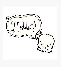 cartoon skull saying hello Photographic Print