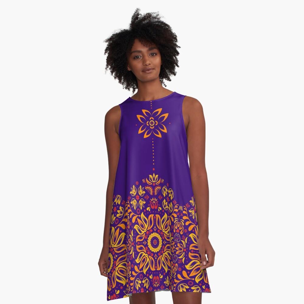 Fiery Floral Folk Pattern A-Line Dress