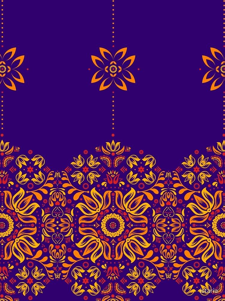 Fiery Floral Folk Pattern by istaria