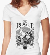 RPG Class Series: Rogue - Black Version Women's Fitted V-Neck T-Shirt