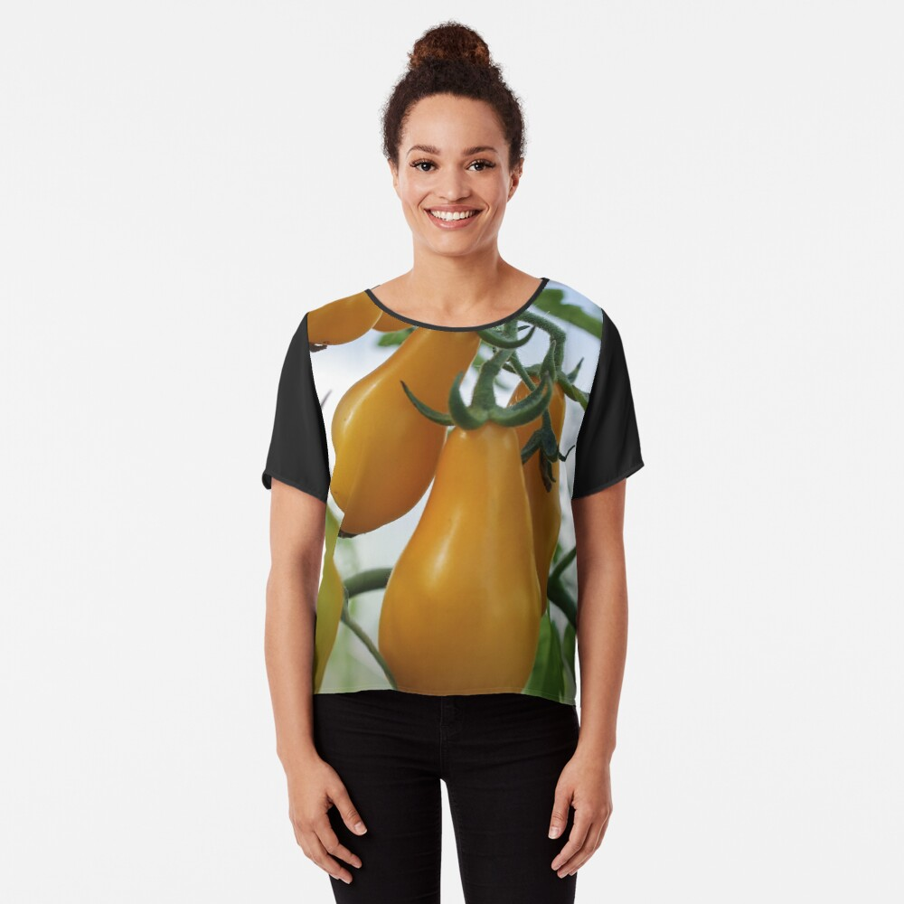 Branch yellow pear tomatoes/ Women's Chiffon Top Front