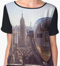 View of Empire State Building and Downtown NYC Chiffon Top