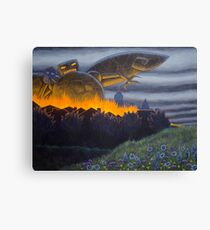Evil Robot with Field of Flowers Canvas Print