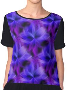 Purple and Blue Petals Abstract Women's Chiffon Top