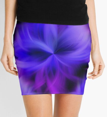Purple and Blue Petals Abstract Mini Skirt