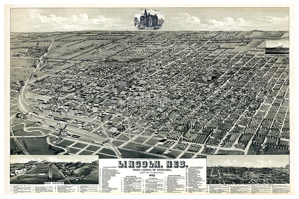 Birds eye of Lincoln, Nebraska - 1889 by paulrommer