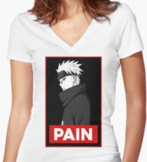 Pain logo Women's Fitted V-Neck T-Shirt