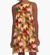 Swirling Red Pink Green And Yellow Colors A-Line Dress