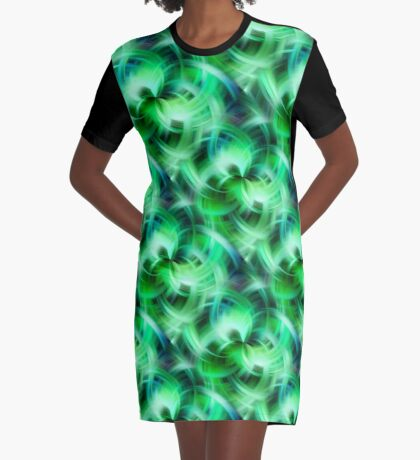 Vibrant Shades Of Green Swirls Abstract Graphic T-Shirt Dress