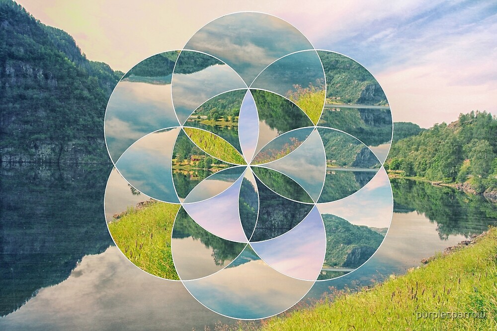Geometric collage lanscape by purplesparrow