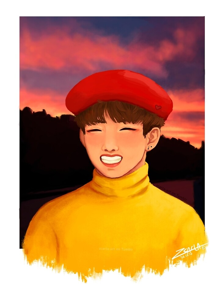 BTS Taehyung - Red Berret by Zcarta-art