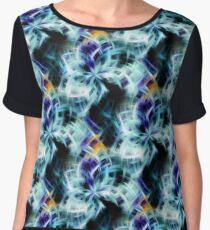 Swirling Shades Of Blue Abstract Chiffon Top
