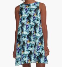 Swirling Shades Of Blue Abstract A-Line Dress
