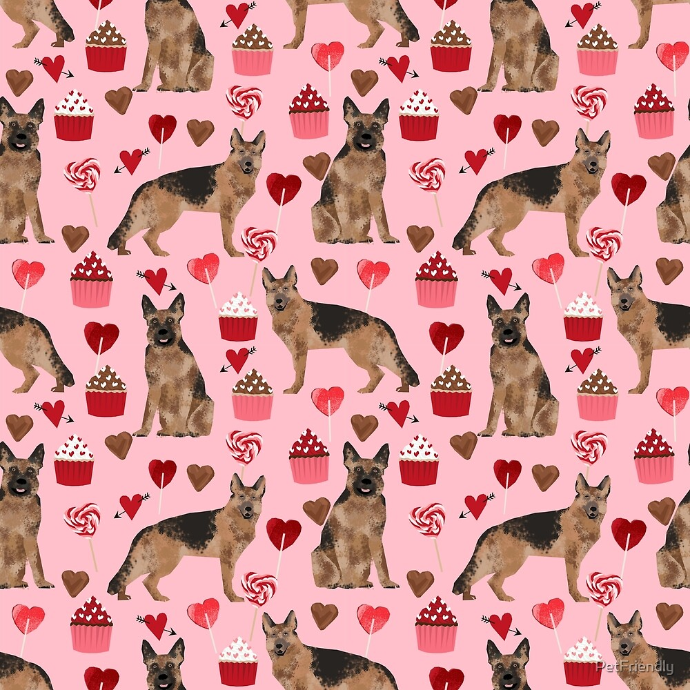 German Shepherd valentines day hearts cupcakes dog breed pet portraits by pet friendly by PetFriendly