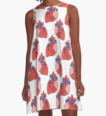 human heart doodle pattern A-Line Dress
