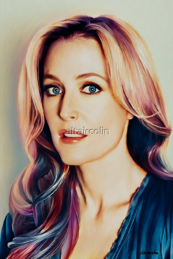 Gillian Anderson oil color painting  by altaircolin