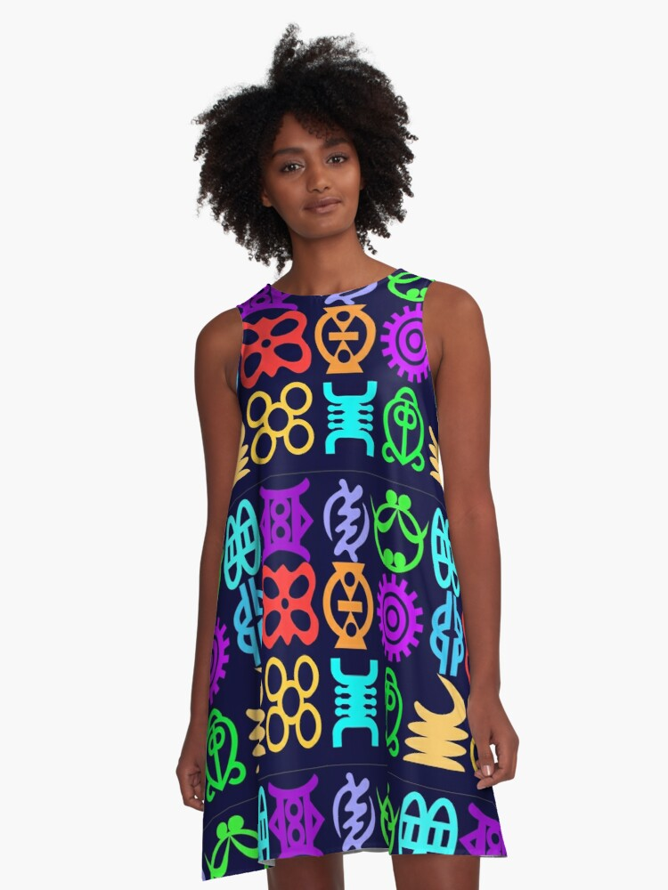 Adinkra Symbols And Meanings From Africa-Ghana A-Line Dress Front