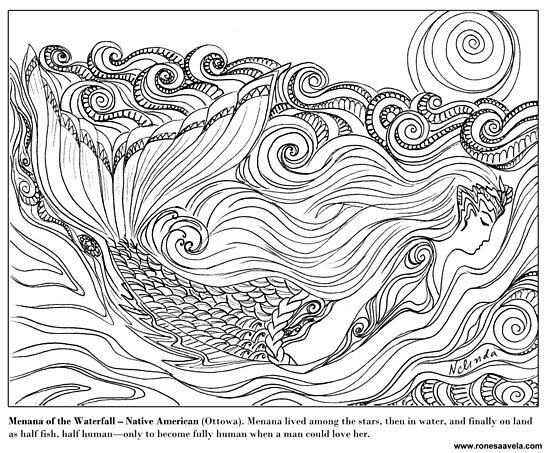 Pósters «Menana de la Cascada - Nativo Americano (Ottowa) #Mermaid ...