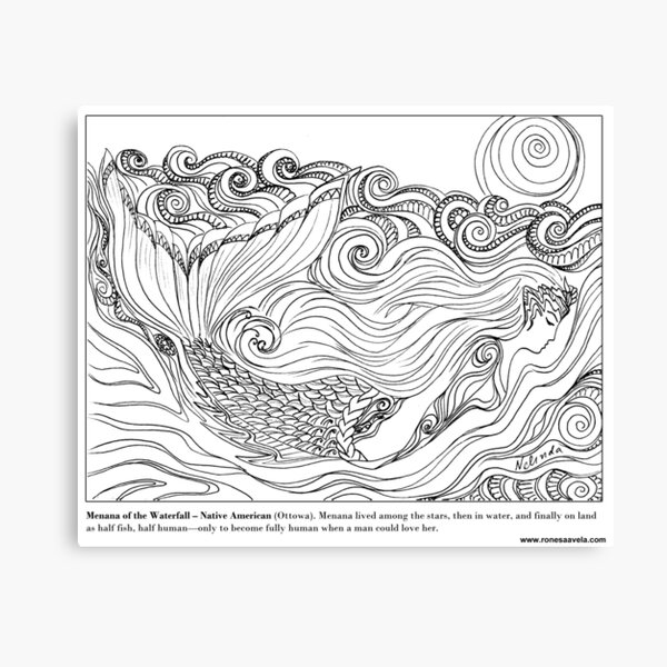 Menana of the Waterfall – Native American (Ottowa) #Mermaid Canvas Print