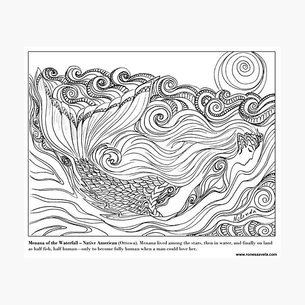 Menana of the Waterfall – Native American (Ottowa) #Mermaid Photographic Print