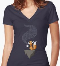Fox Tea Women's Fitted V-Neck T-Shirt
