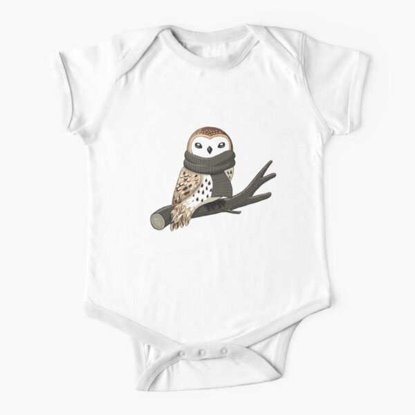 Winter Owl Short Sleeve Baby One-Piece
