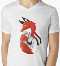 Girl and a Fox Mens V-Neck T-Shirt