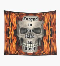 Forged in Fire Skull and Flames Wall Tapestry