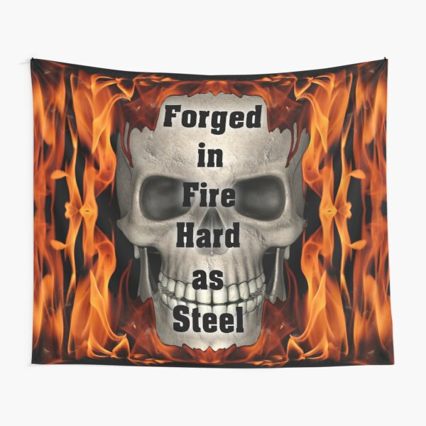 Forged in Fire Skull and Flames Tapestry