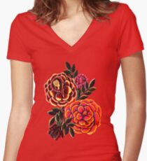 Colorful Roses Women's Fitted V-Neck T-Shirt