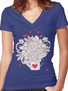 bouquet with love T-shirt femme moulant col V