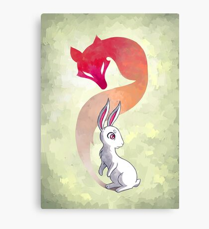 Rabbit and a Fox Canvas Print
