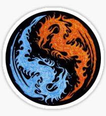 Dragon & Fire Yin Yang Sticker