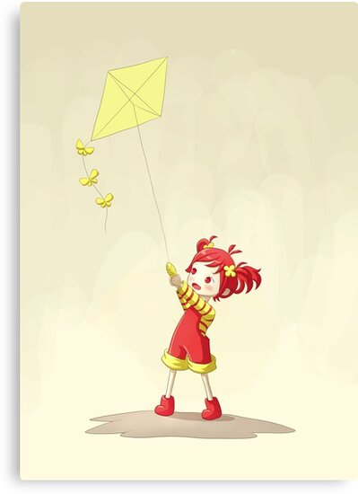 Girl with Kite by freeminds