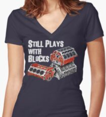 Still Plays With Blocks Women's Fitted V-Neck T-Shirt