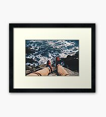 SHOES - RED - OCEAN - ROCKS Framed Print