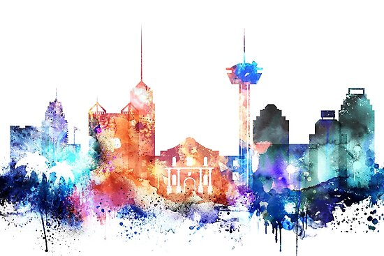 San Antonio Skyline, Texas,colorful skyline by DimDom