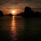 Ha Long Bay Sunset. by Michael Stocks