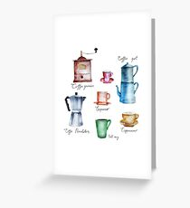 Coffee Time! Vintage Coffee Watercolor Illustration Greeting Card